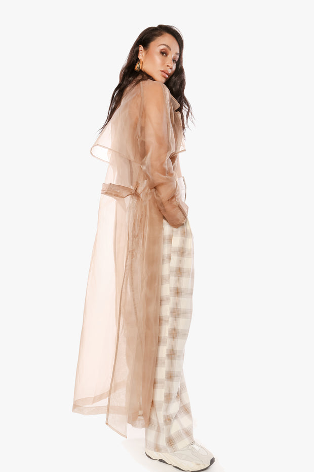 YOU MIGHT WANNA KEEP IT COVERED Latte Organza Trench