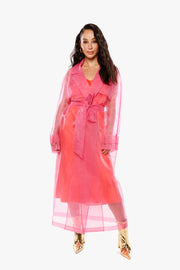 YOU MIGHT WANNA KEEP IT COVERED Hot Pink Organza Trench