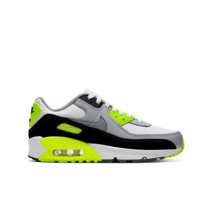 "CLASSIC AIR, ELEVATED. The Nike Air Max 90 LTR ""White/Particle Grey/Volt"" Grade School Boys' Shoe takes the original look to a new level with more comfort and flexibility. It keeps the classic Max Air cushioning you know and love."