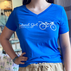 Island Girl Blue V-Neck T-Shirt