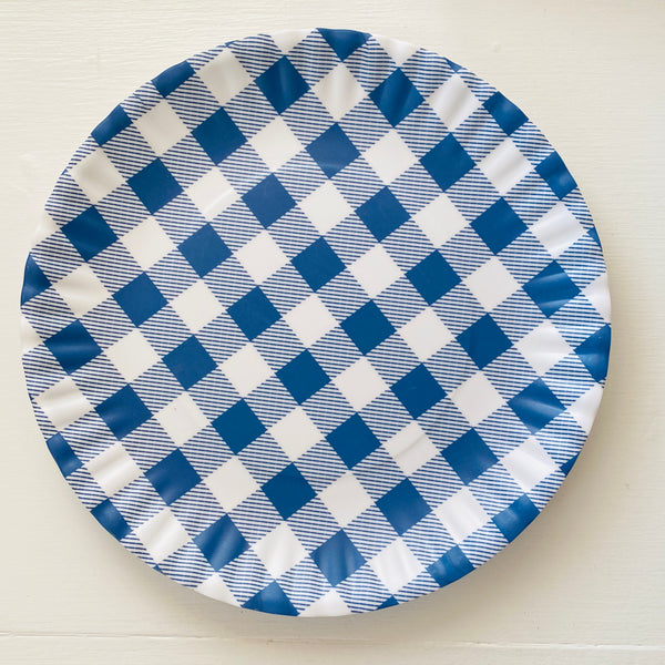 "Blue Gingham Reusable ""Paper"" Plates 9"""
