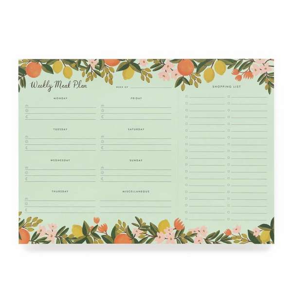Rifle Paper I Meal Planner Notepad