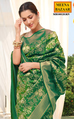Load image into Gallery viewer, Green Silk Brocade Saree
