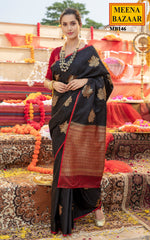 Load image into Gallery viewer, Zari Weave Black Silk Saree