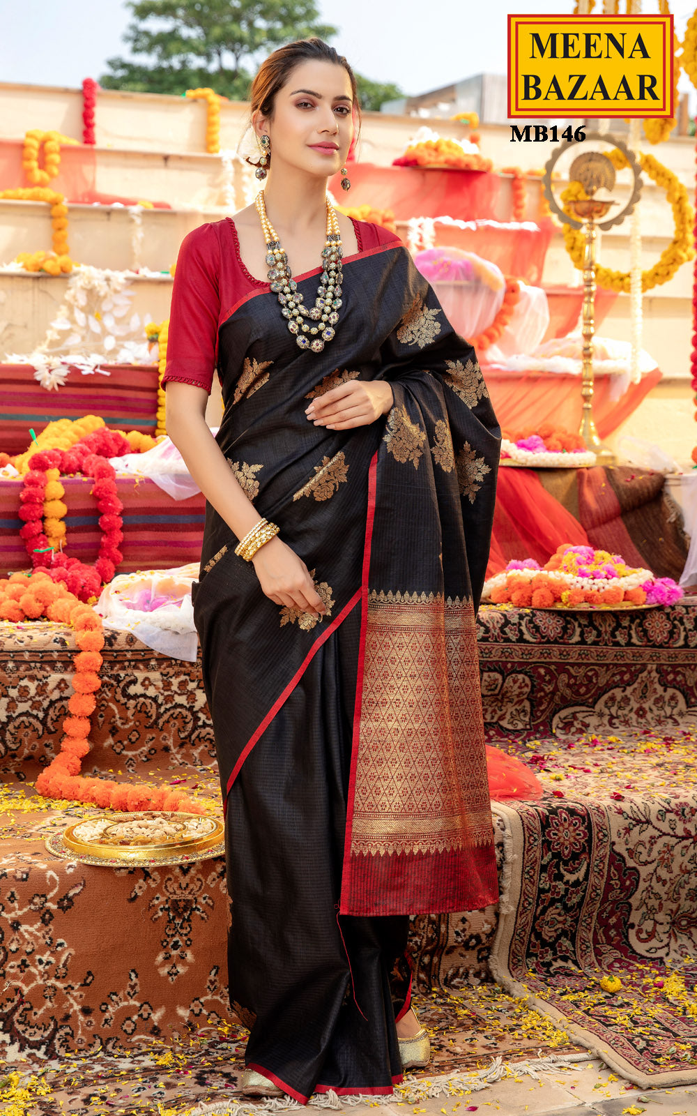 Zari Weave Black Silk Saree