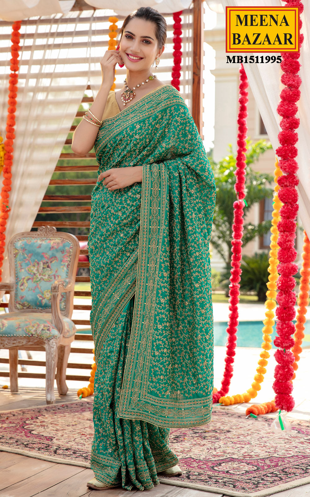 Rama Green Tussar Silk Saree