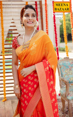 Load image into Gallery viewer, Orange & Red Raw Silk Saree