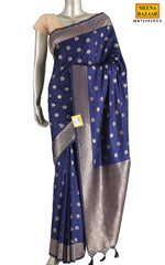 Load image into Gallery viewer, Navy Silk Saree