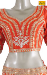 Load image into Gallery viewer, Orange Raw Silk Lehenga