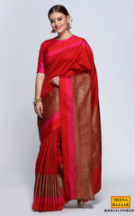 Load image into Gallery viewer, Red Silk Colour-Block Saree