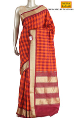 Load image into Gallery viewer, Orange & Maroon Silk Saree