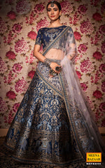 Load image into Gallery viewer, Navy Silk Lehenga Set