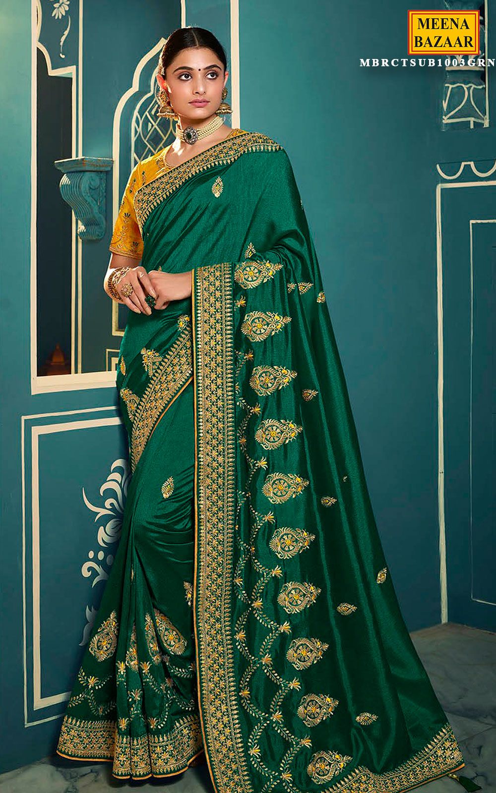 Green Silk Embroidered Saree