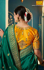 Load image into Gallery viewer, Green Silk Embroidered Saree
