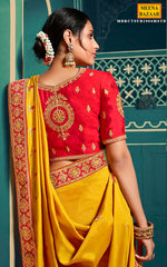 Load image into Gallery viewer, Mustard Crape Embroidered Saree