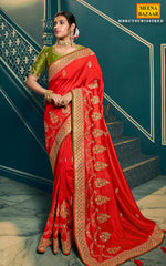 Load image into Gallery viewer, Red Silk Embroidered Saree