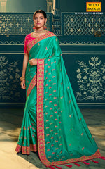 Load image into Gallery viewer, Firozi Crape Embroidered Saree