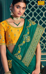 Load image into Gallery viewer, Rama Silk Embroidered Saree