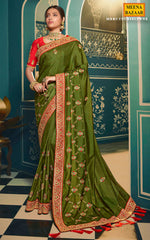 Load image into Gallery viewer, Mehandi Silk Embroidered Saree
