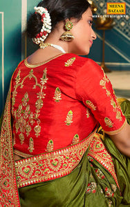 Mehandi Silk Embroidered Saree