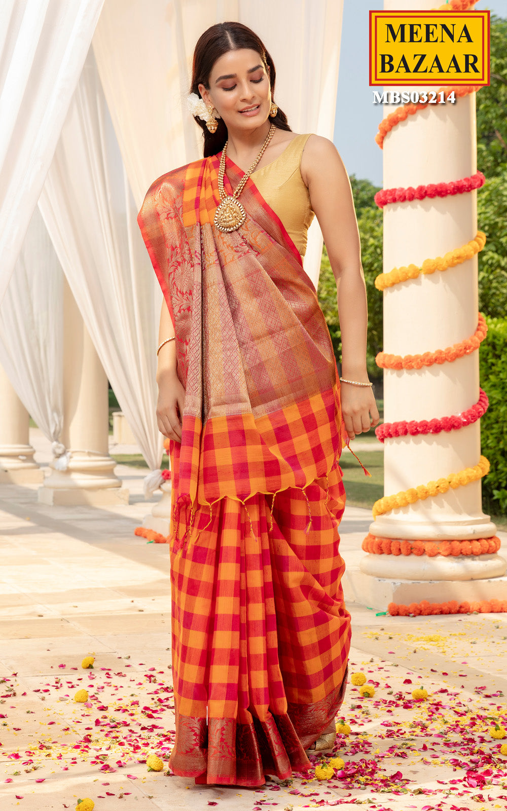 Orange Cotton Checks Saree