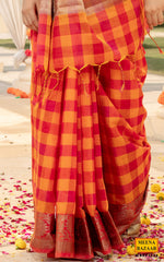 Load image into Gallery viewer, Orange Cotton Checks Saree