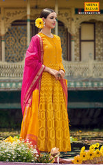 Load image into Gallery viewer, Yellow Chanderi Anarkali Suit