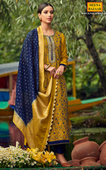 Load image into Gallery viewer, Mustard & Navy Chanderi Suit