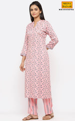 Load image into Gallery viewer, Pink Cotton Printed Kurti Set