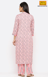 Pink Cotton Printed Kurti Set