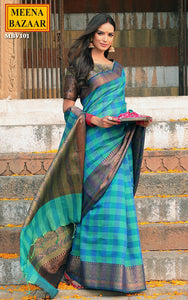 Blue Handloom Cotton Saree