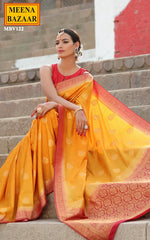 Load image into Gallery viewer, Yellow Silk & Zari Weave Saree