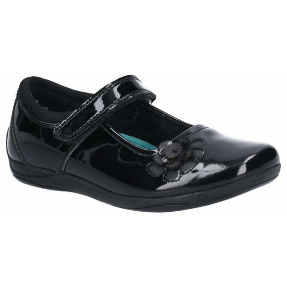 Hush Puppies Jessica Patent Jnr Touch Fastening School Shoe