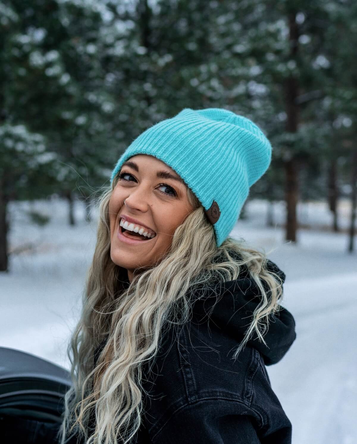Winter Beanie - Turquoise Powder