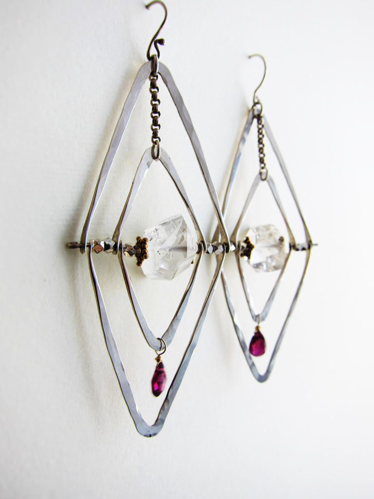 Silver Orbit Gods Eye Earrings