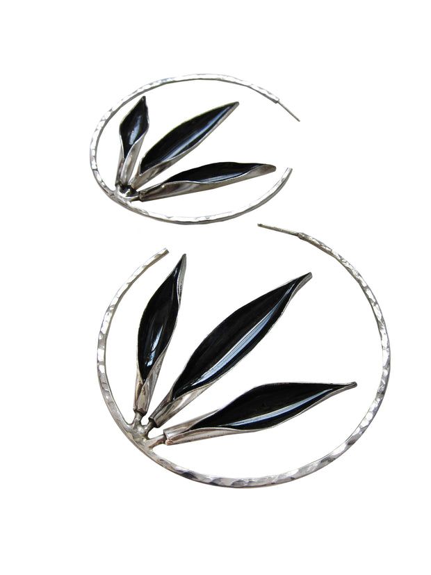 Obsidian Flourish Hoops