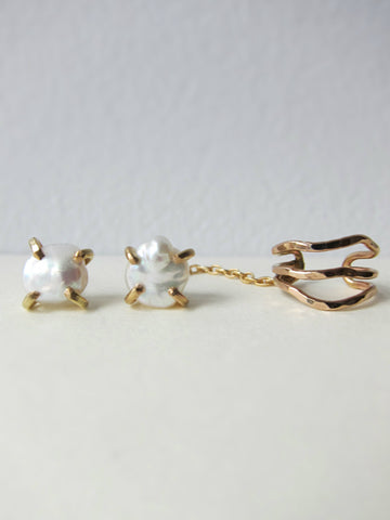 Gold And White Pearl Studs