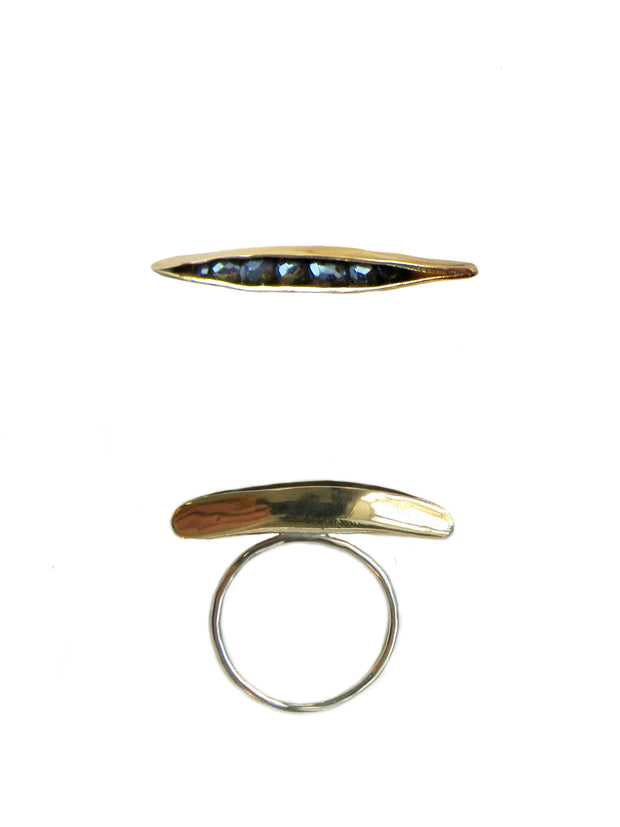 Bronze ~ Black Spinel Pod ring