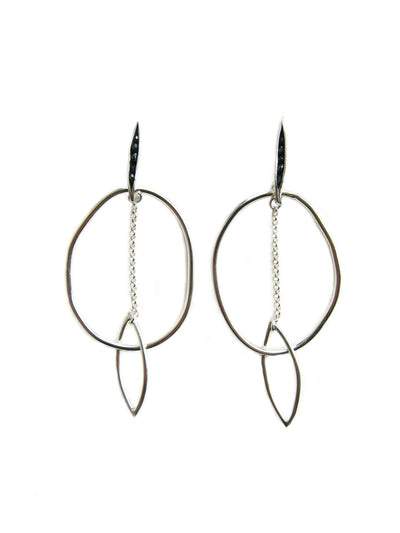 Silver Black Spinel Hoops
