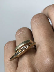Bronze ~ Herkimer Diamond Pod Ring