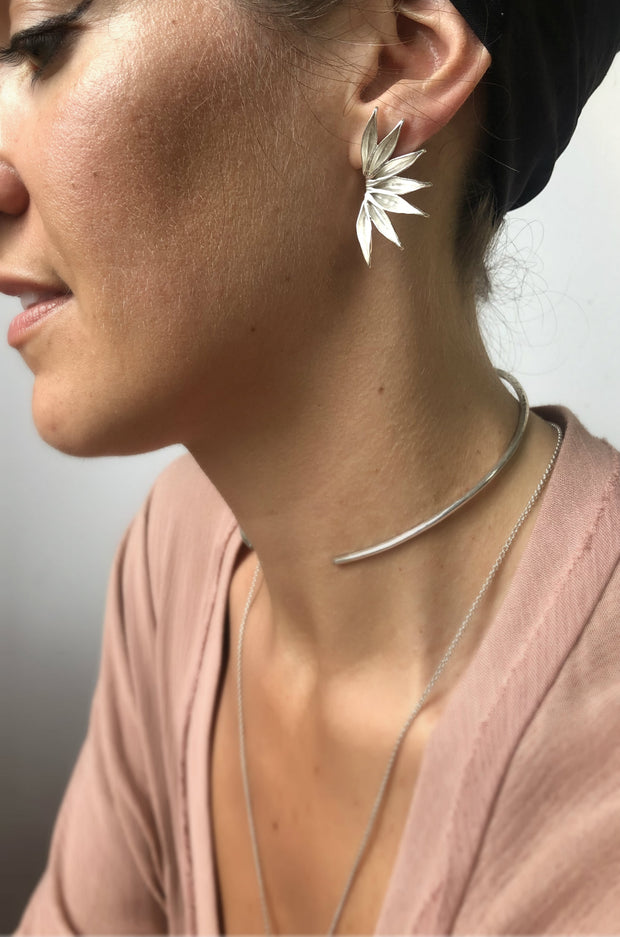 Silver Fan Post Earrings