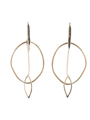 Bronze Black Spinel Hoops