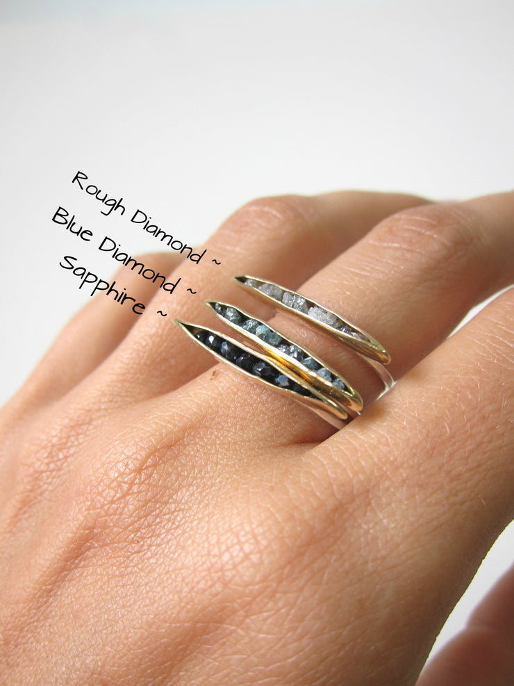 Bronze ~ Blue Diamond Pod Ring