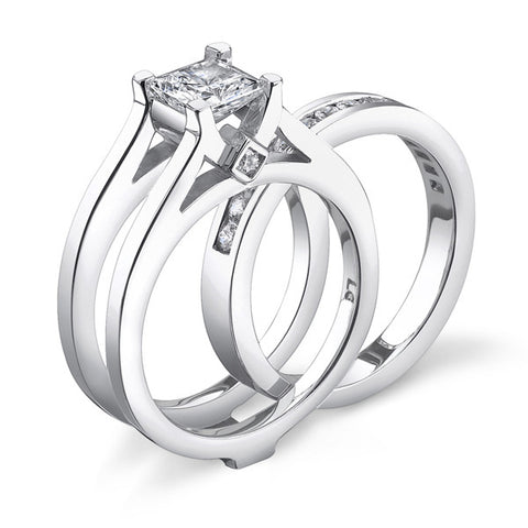 14K White Gold Bezel-Set Engagement Ring (LM6933E)