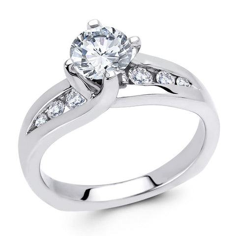 14k White Gold Twist Side Stone Setting (LM-7207)