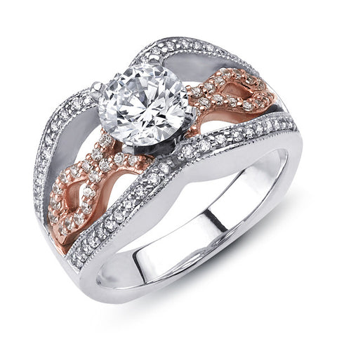 14k White and Rose Gold Side Stone Setting (LM-7574TT)