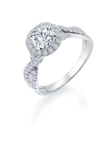 14k White Gold Halo with Criss-Cross Shank (100-2358)