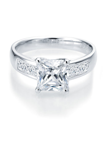 14k White Gold - Side Stone Setting (100-2359)