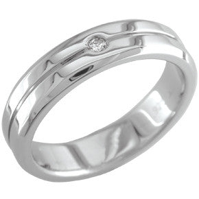 Men's Stainless Steel Diamond Wedding Ring (115-11)
