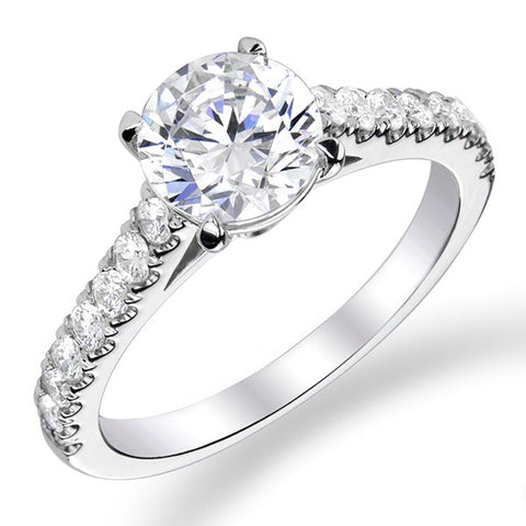 14k White Gold - Side Stone Setting (100-2356)